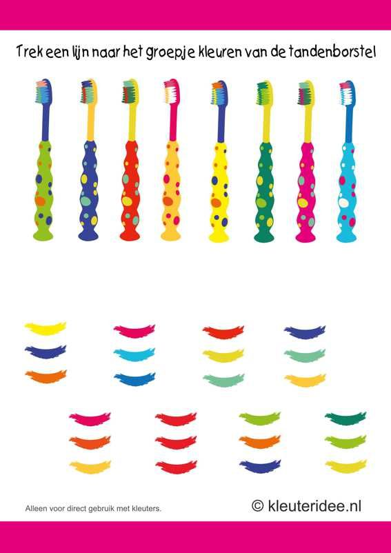 Trek een lijn naar het groepje kleuren van de tandenborstel, kleuteridee.nl , thema tandarts voor kleuter, colors of the toothbrush, free pr...