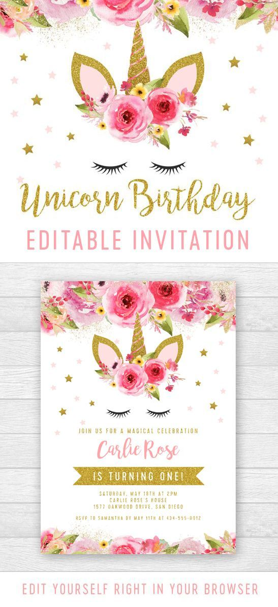 Editable Unicorn Birthday Party Invitation – Pink Gold Glitter – Printable – Personalize Instantly #GlitterBirthday