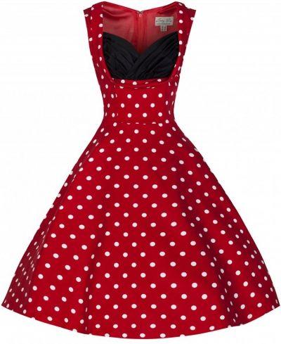 POSHme - LindyBop šaty Ophelia, červené s puntíky