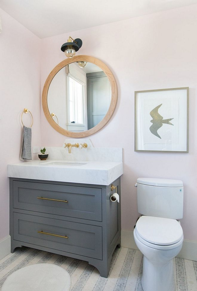 Pink Bathroom Walls With Grey Vanity Pink Bathroom Bathroom Island Bathroom Makeover