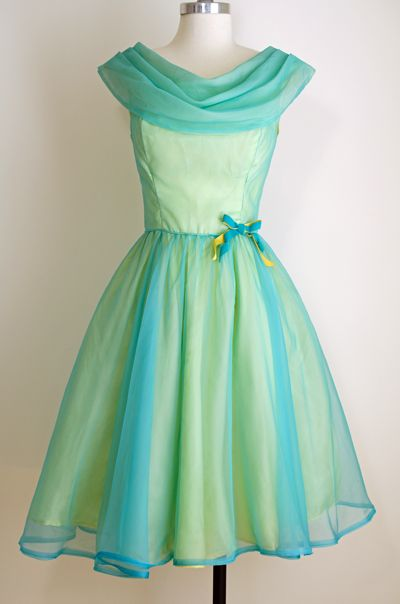 1950's Neon Teal Sorbet Chiffon Party Dress, $250.00 @ www.vintagevirtuosa.com, #NeonTealDress, #VintagePromDress