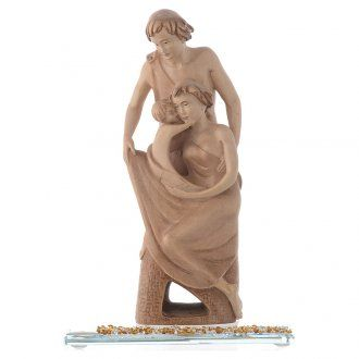 Estatua en madera Dicha Familiar H. 20 con base en cristal | venta online en HOLYART