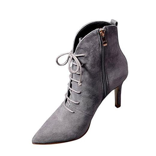 ENMAYER Frauen High Heels Grau Spitze Zehe Schuhe für Frauen Solid Zip Shallow Stiletto Stiefeletten EU 38 - Stiefel für frauen (*Partner-Link)