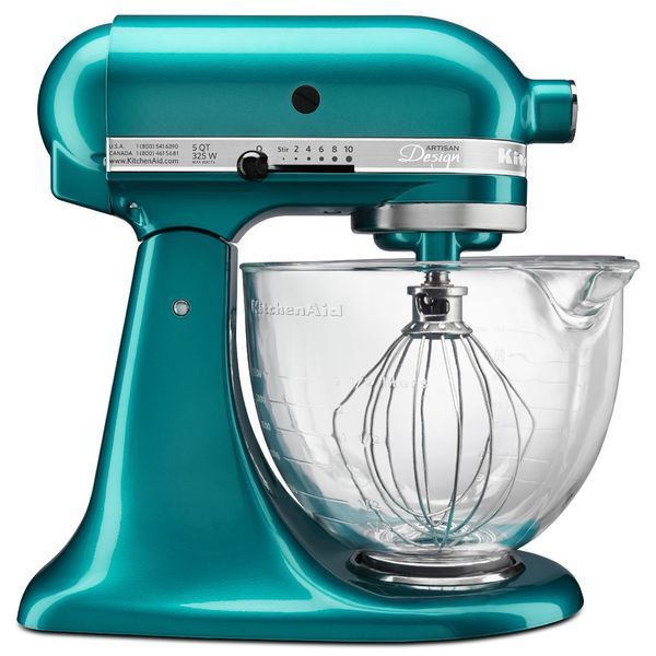 You'll love the bold blue sea color and sleek design of this tilt-head stand mixer.