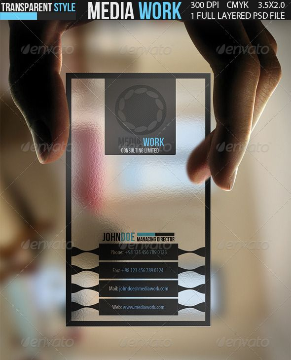 152 best business card images on pinterest carte de visite name check out media work transparent business card by calwin on creative market templates business cards fbccfo