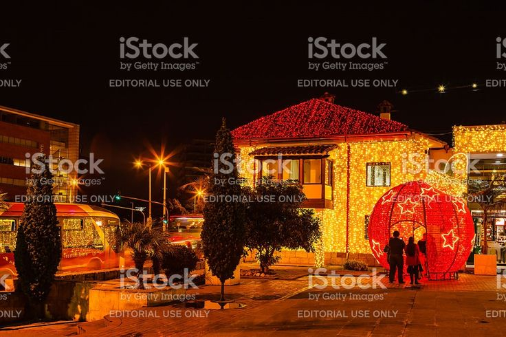 Bogota, Colombia: Christmas lights and traffic on the Andes royalty-free stock photo