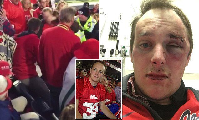 Fan at Ole Miss football game being punched in the face by police