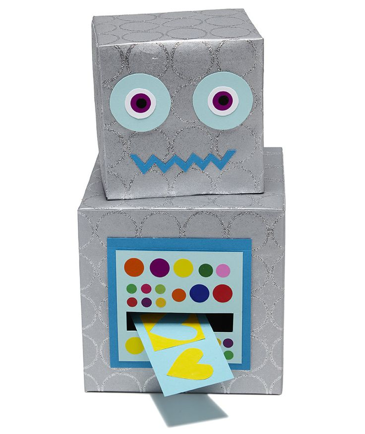 Valentine's Day Card Boxes | By this robot's calculations, your child has a lot of Valentines to collect.