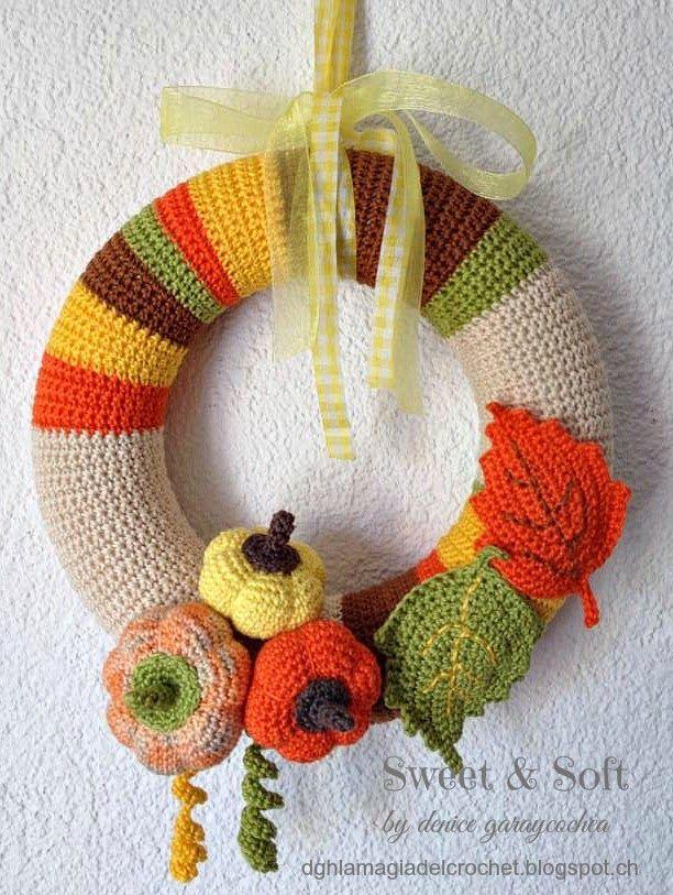 La Magia del Crochet: CORONA DE OTOÑO AL CROCHET ~instructions are written in Spanish~