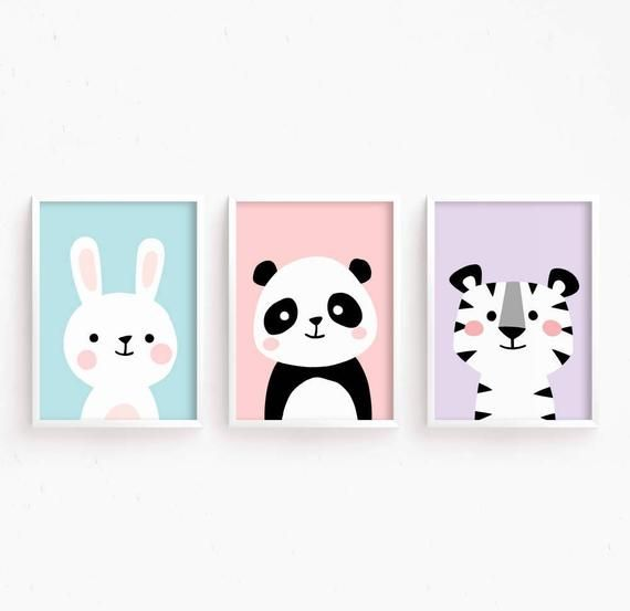 Nursery Artwork Set of three Child Animals : Bunny Panda Tiger ( Cute Pretty Printable Child Women room artwork youngsters Poster Digital print )