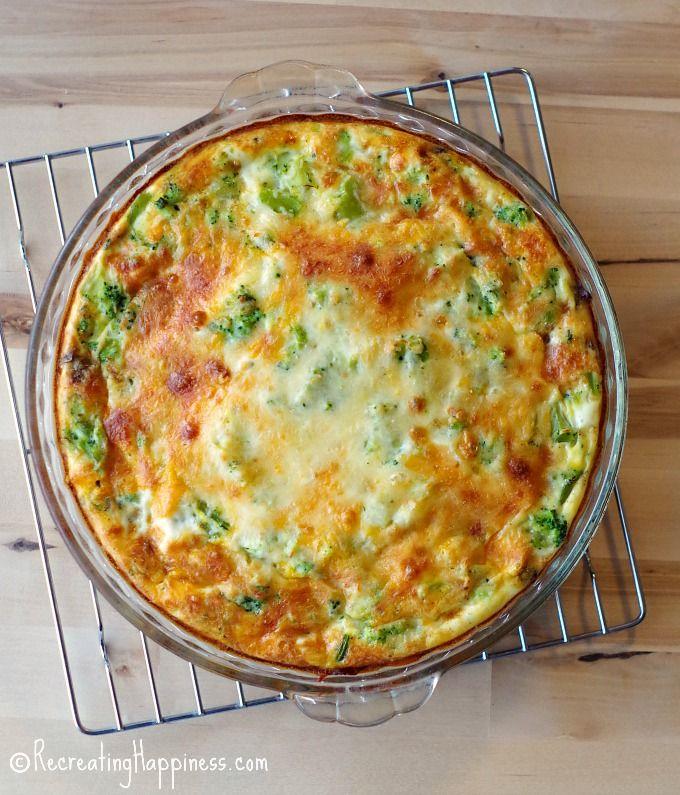 Cheesy, spinach, mushroom & broccoli crustless quiche
