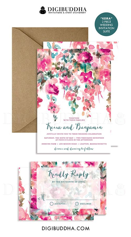 Pink & teal floral wedding invitations with a bohemian rustic watercolor painted flower pattern in a pink and turquoise teal. Choose from ready made printed cards or printable wedding invitations for a DIY option. Kraft envelopes and matching envelope liners also available, at digibuddha.com