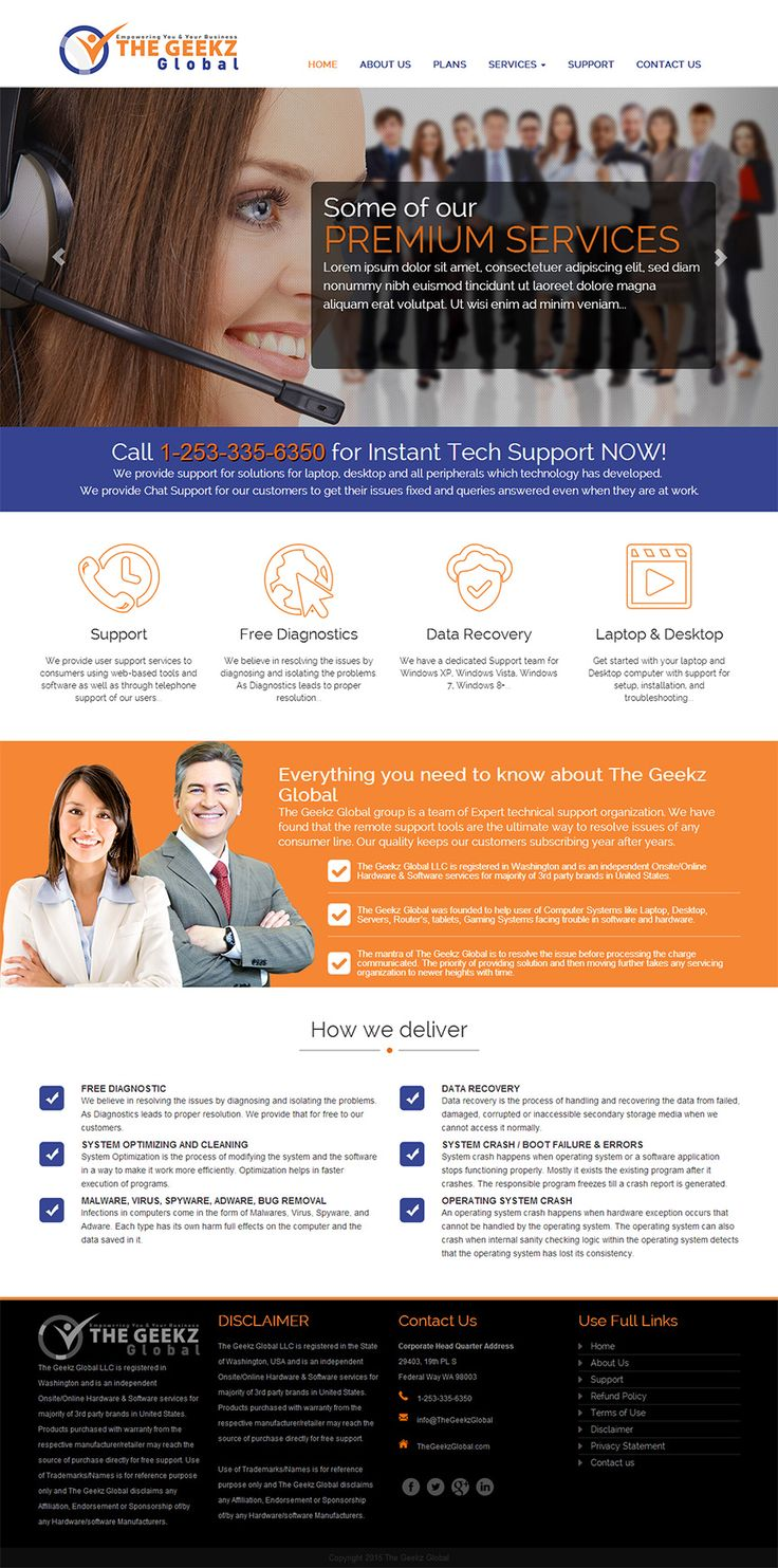 Homepage mock-up for an Online Tech support website