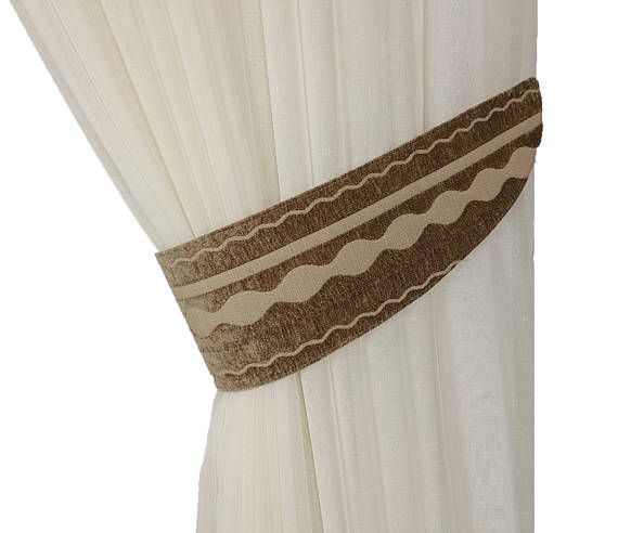 Chenille tie backs, Curtain decor, Tie backs brown, Curtain tiebacks, Striped tiebacks, Tie backs, Drapery ties, Curtain accessories