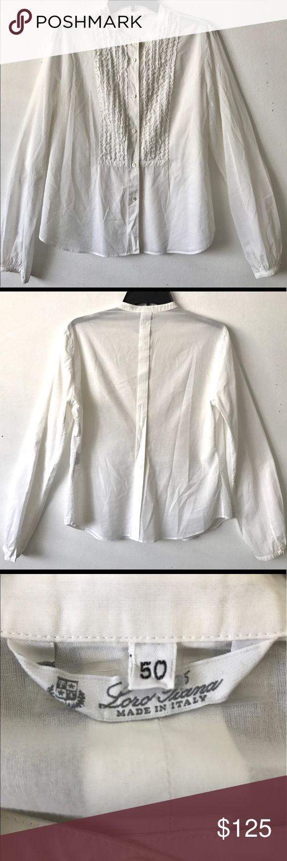 "Loro Piana Cotton Poplin Pintuck Tuxedo Blouse Excellent condition Loro Piana white cotton poplin Tuxedo Blouse with a pintuck ruffle bib. Button Front, Mandarin Collar, button cuffs. 100% fresh soft cotton. Made in Italy. No rips, tears, holes or stains! Tiny pinhole from price tag on Sleeve- see photo. Size 50IT. Retail $995 20.5"" armpit to armpit, 16"" across back, 25"" length Loro Piana Tops Blouses"
