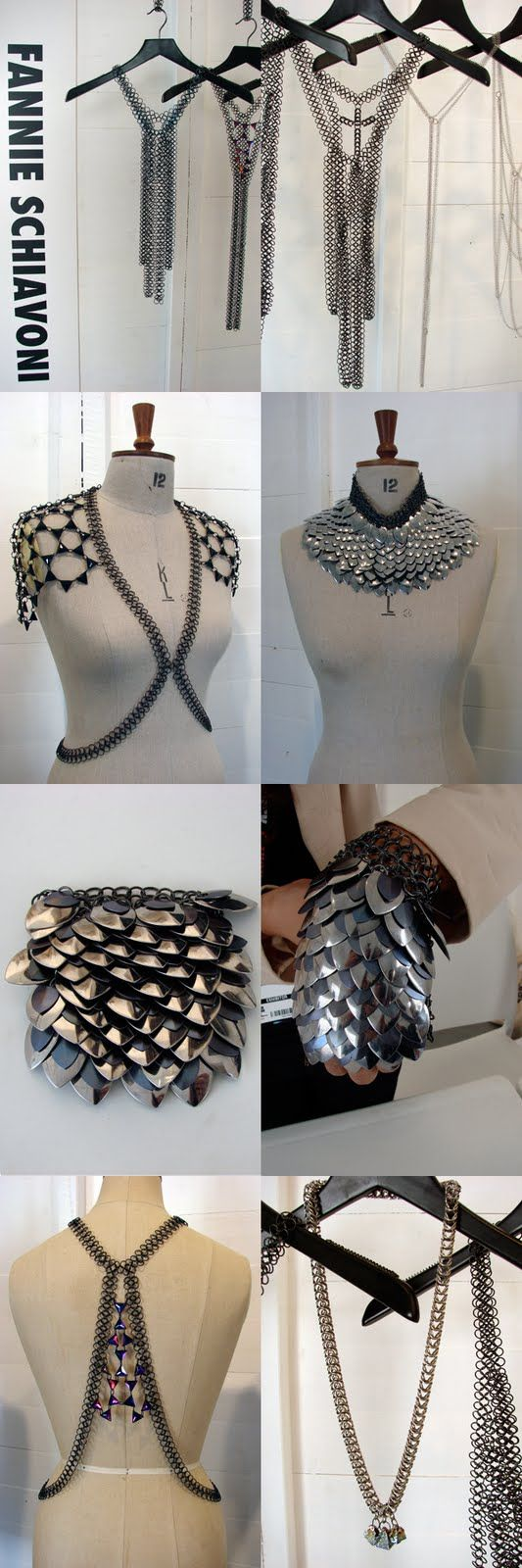 "I love some of these.  I won't ever make chain maille or scale maille, (chainmail? chain mail?) but these are delightful ideas. ""A Matter Of Style: DIY Fashion: The urban warrior:Armor jewelry"""
