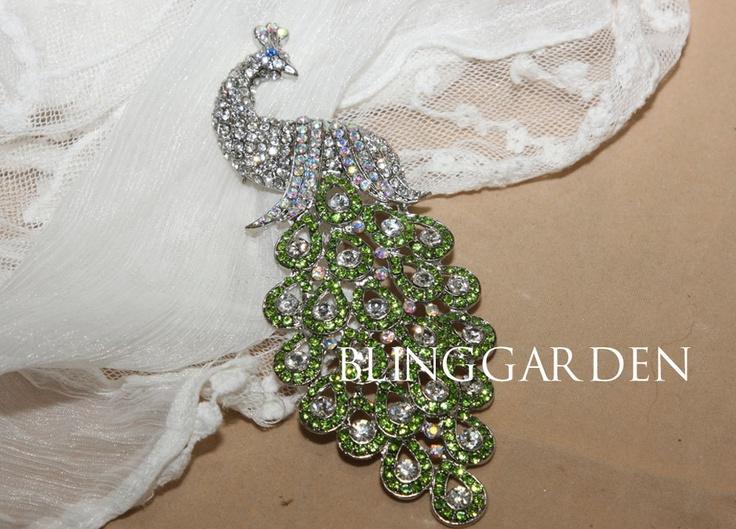 Color Peacock Jewelry Craft Rhinestone Crystals Wedding Bridal Dress Shrug Pendant Sparkle Supply. $19.99, via Etsy.