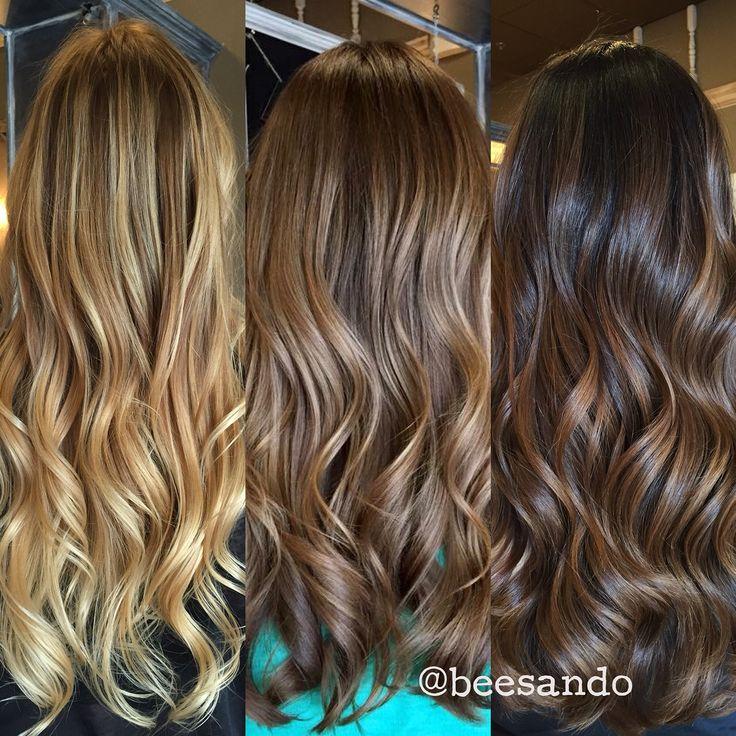 Blonde, medium brown, dark brown balayage. | Blondes, bobs ...
