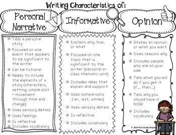 Enjoy this FREEBIE that lists all of the characteristics for personal narrative, informative, & opinion (persuasive) writing. This is great to keep in your teacher binder and/or give out to parents. This file contains the following: -1 graphic organizer of the characteristics of personal narrative, informative, & opinion writing. (black and white & color) -1 graphic organizer of the characteristics of personal narrative, informative, & persuasive writing. (black and ...