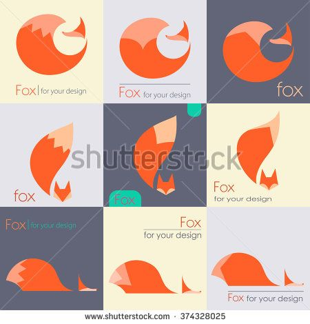 Set fox sign, illustration and symbol. collection of vector icons - stock vector