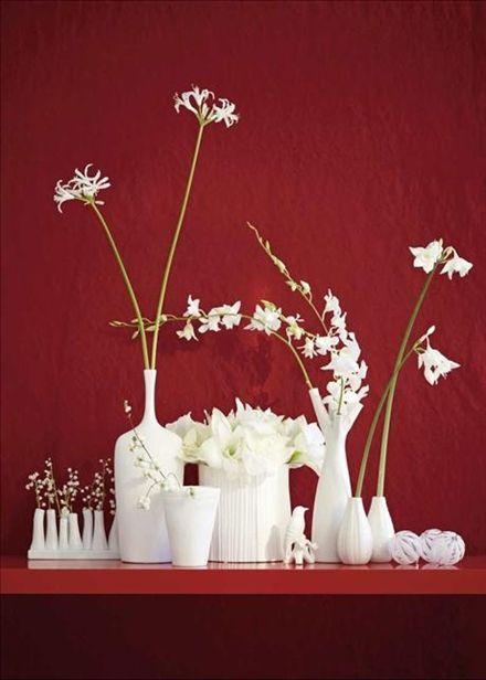 Gracilt mot distinkt. Gracila blommor i vaser med distinkta former mot en dramatiskt röd vägg.