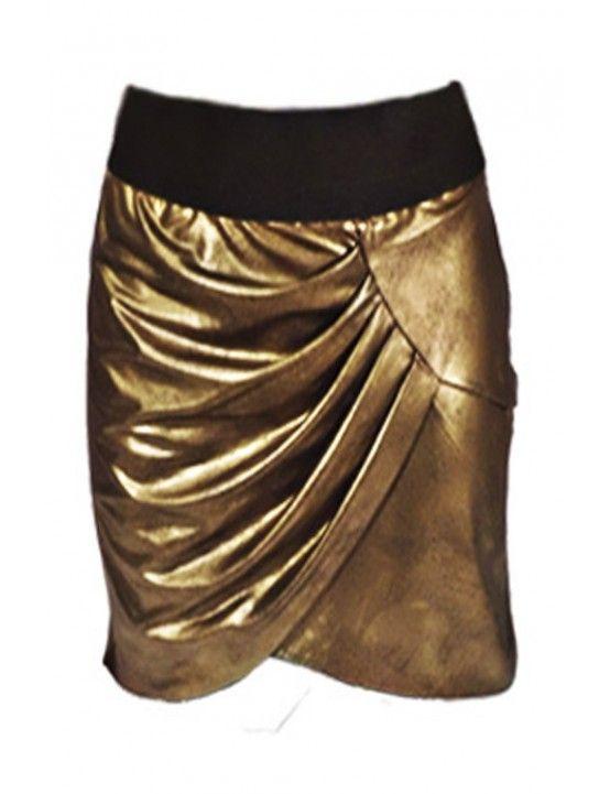 Falda cruzada de color dorado jaspeado con efecto asimétrico en la parte delantera y elástico en la cintura 96% poliester y 4% elástico.