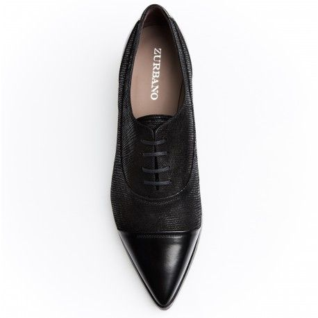 Zurbano | Senzo - lace-up oxford women shoes in metallic textured suede, with matte leather toe and counter