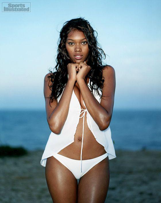 Black woman swimsuit model