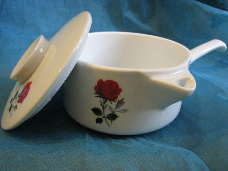 Cute 1960s Ovensafe Dish Skillet Pan Kasserole with Lid – German Winterling Porcelain – Vintage retro Mid Century Design – Rose Décor von everglaze auf Etsy