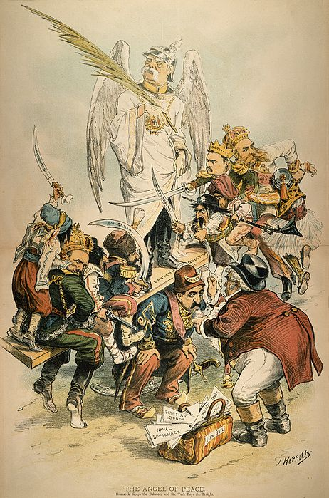 OTTO VON BISMARCK (1815-1898). Prince Otto von Bismarck-Schonhausen. American cartoon of 1886 by Joseph Keppler mocking Bismarck as an 'Angel of Peace' in the Balkans following his role as 'honest broker' at the Congress of Berlin, 1878, which ended the Russo-Turkish War but not high feelings in the region.