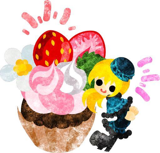 フリーのイラスト素材巨大な苺のカップケーキと笑顔の少女  Free Illustration Big strawberry cup cake and a smiling girl  http://ift.tt/1paKzFm