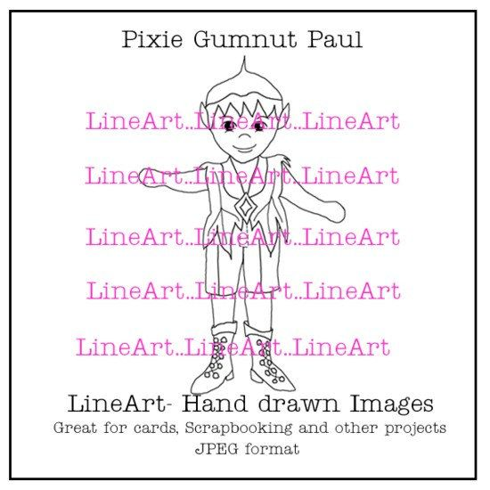 Pixie Gumnut Paul Handdrawn LineArt  Instant by Beauladigitals
