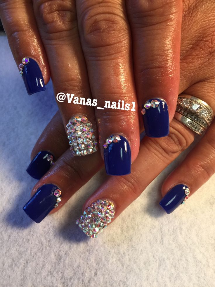 Royal Blue Acrylic Nails Unas Acrilicas Azul Rey Vana S Nails