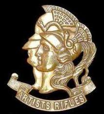Artists Rifles cap badge; it depicts the Roman gods Mars and Minerva, deities of war and the art of war.