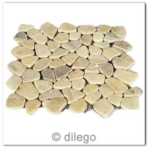 Divero 1 Matte 30x30cm Flusskiesel Flussstein Mosaik Fliesen Wand Boden  Creme