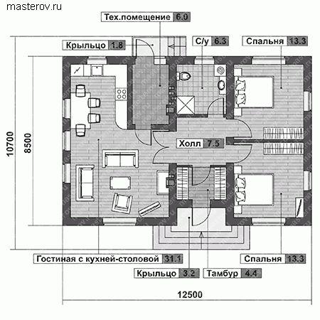Одноэтажный 12,5х8,5 2 спальни