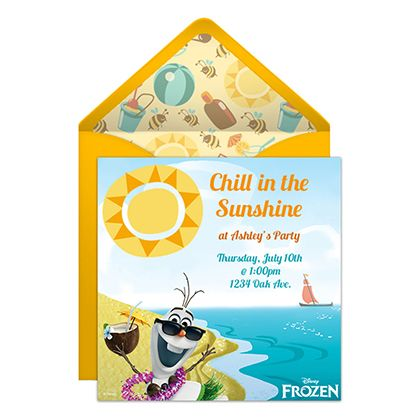 Bring the cool splash of Summer to your next party with this free online Olaf Summer party invitation!