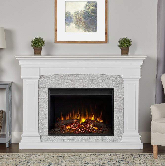 63 Deland Grand Real Flame White Electric Fireplace White