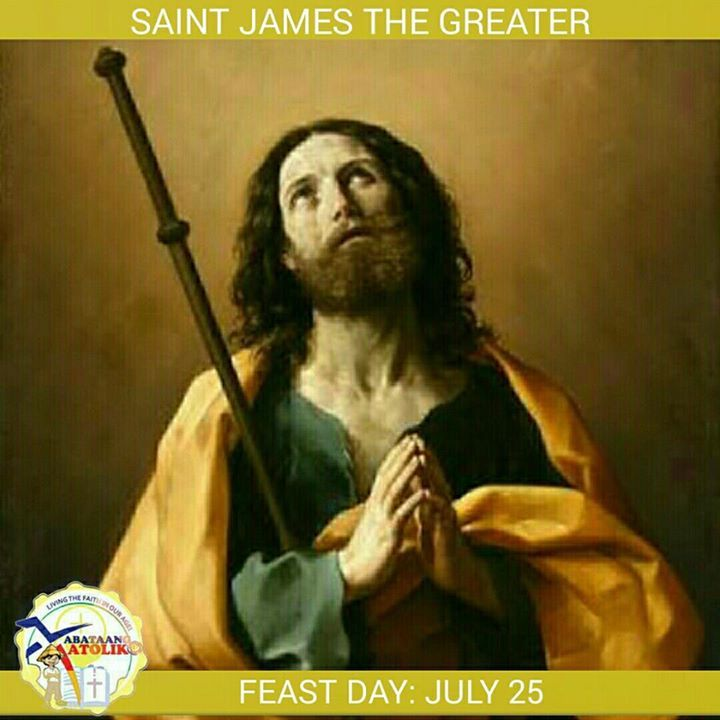 Saint of the Day July 25  St James the Greater #kabataangkatoliko  James son of Zebedee was one of the Twelve Apostles of Jesus and traditionally considered the first apostle to be martyred. He was a son of Zebedee and Salome and brother of John the Apostle. He is called Saint James the Greater to distinguish him from the other Apostle named James (James the Lesser) the son of Alphaeus.   James was a fisherman like his father Zebedee and his brother John. He was on his father's boat mending…