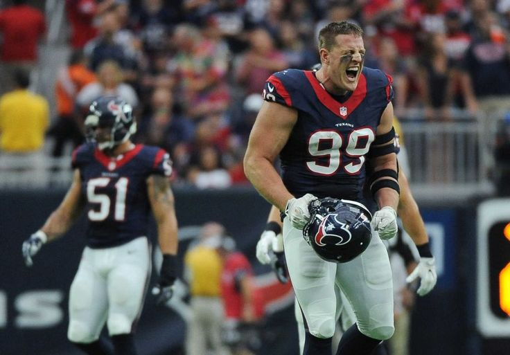 Houston Texans defensive end J.J. Watt (99) celebrates after he sacked Kansas City Chiefs quarterback Alex Smith during the first half of an NFL football game Sunday, Sept. 18, 2016, in Houston.