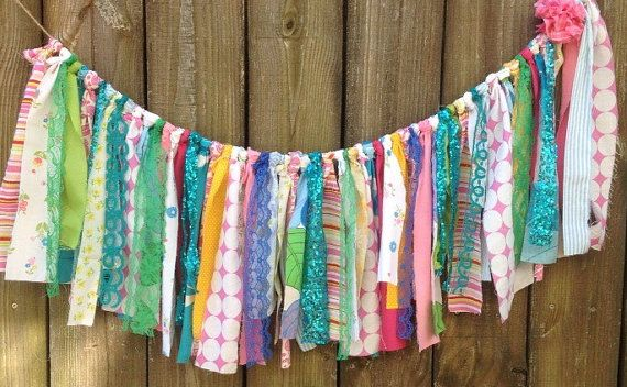 Boho Garland Ribbon Curtain Backdrop Crib Garland High Chair