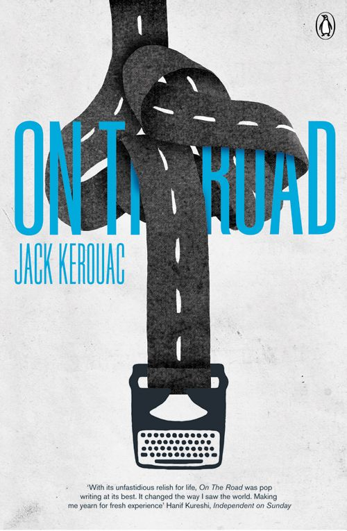 On The Road book cover design by Jez Burrows who has taken a different approach by using the writing processes of Jack Kerouac as inspiration