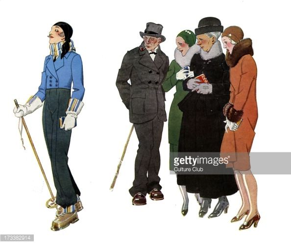 Ski resort fashions - 1930s. French illustration by René Vincent . Women from the country dressed in Parisian style smile ironically at the young woman dressed for skiing. Competition.