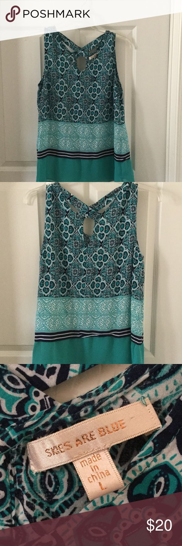 Skies Are Blue Stitchfix Top Beautiful top that I only wore once received from Stitch Fix. Very cute on and perfect for Spring/Summer!  I can't remember price I paid for it exactly but think it was about $50. Skies Are Blue Tops Tank Tops
