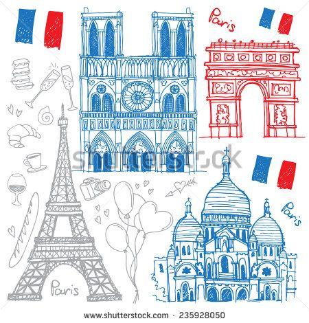 Set Of Hand Drawn Sketches Of The Famous Sights Of Paris, France - Eiffel Tower, Basilique Du Sacre Coeur, Notre-Dame De Paris, Arc De Triomphe. Vector Illustration Isolated On White Background - 235928050 : Shutterstock