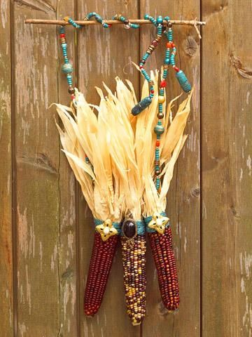 beads and dried corn: Leaves Fall, Fall Decoration, Midwest Living, Decoration Tips, Entryway Decoration, 18 Dry, Beads, Dry Corn, Corn Projects