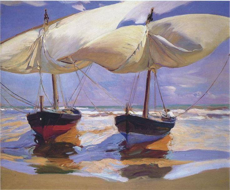 Joaquin Sorolla y Bastida >> Beached Boats  |  (Oil, artwork, reproduction, copy, painting).