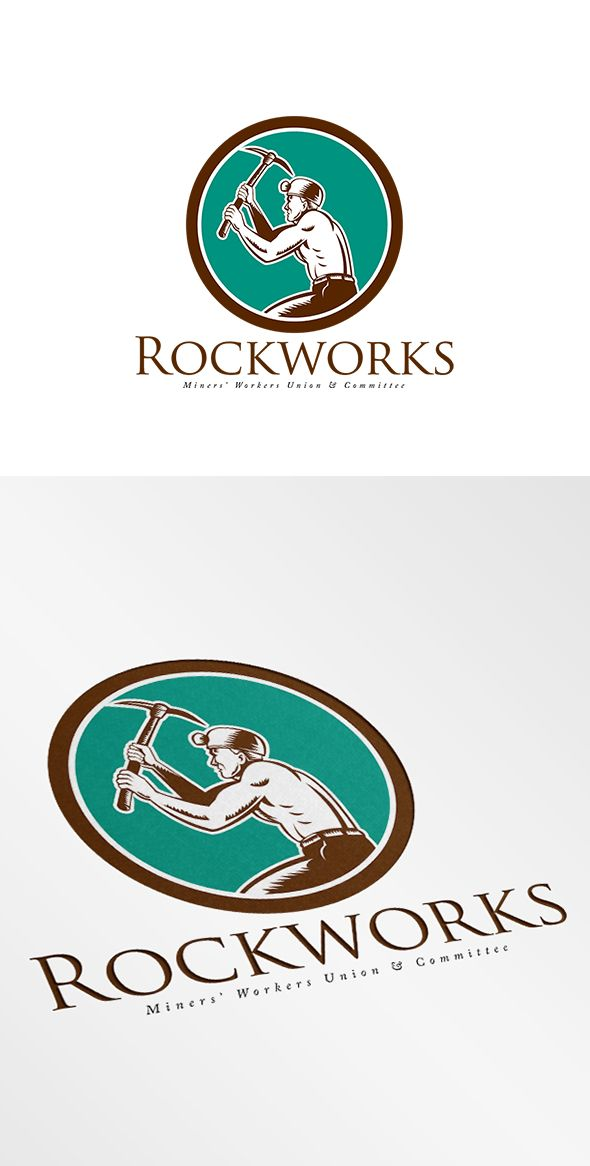 RockWorks Coal Miners Union Logo. Logo showing illustration of a coal miner hardhat with crossed pick axe working viewed from the side set inside circle on isolated background done in retro