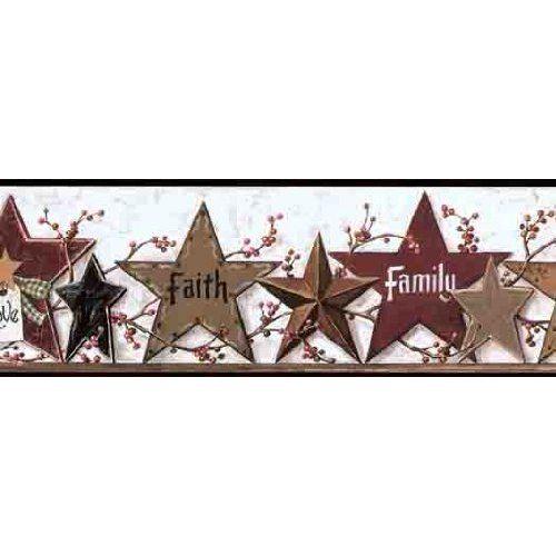Primitive Star Friends Family Wallpaper Border: Home