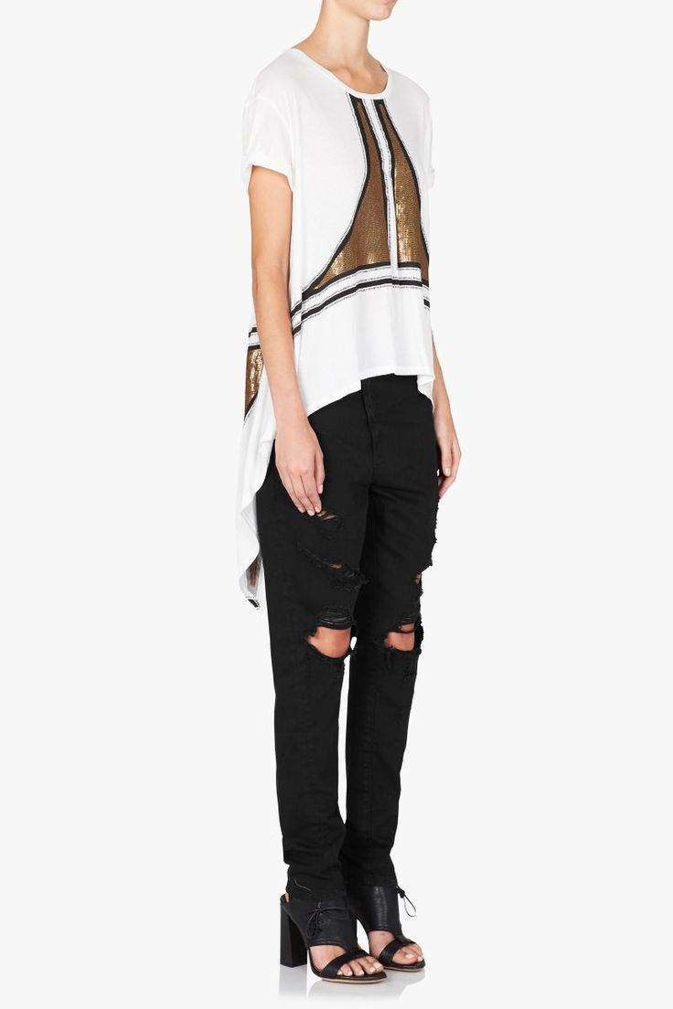 Sass and Bide - Time For Us Embellished Tee Ivory